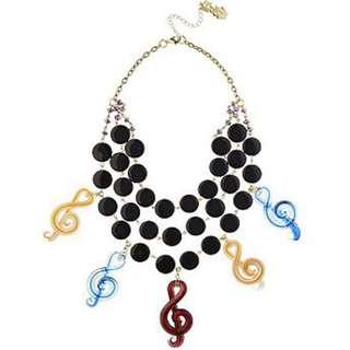 全新 英國皇家品牌 Butler & Wilson 3 Strand Treble Clef Notes Necklace 音樂符號項鍊