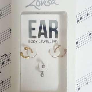 LOVISA SURGICAL STEEL EARRINGS SET OF 3
