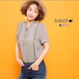 🚚 東京著衣 綁結領織帶拼接雪紡上衣(灰色)