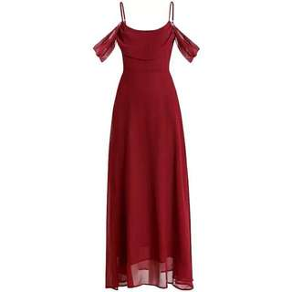 Red Sleeves Social/ Formal Dress