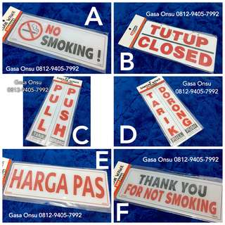 Door Sign Buka Tutup Tarik No Smoking Pull Push Open Close