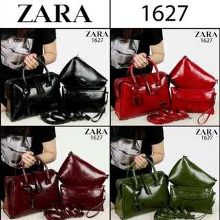 Set 3 in 1 ZARA Marcel Vintage Satchel-Style Handbag Soft Leather Hardware Black 1627*
