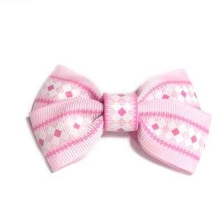 Handmade Korean Style Pink Cross Design Print Hair Bow Clip