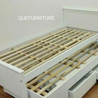 SINGLE BEDFRAME WITH PULLOUT DRAWER