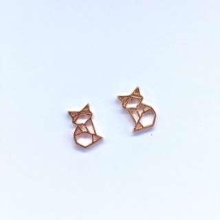 Origami cat earrings