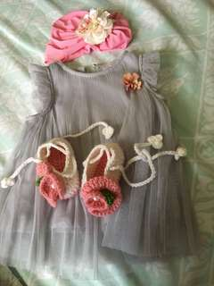 Re-Priced! Elegant Baby Dress + Headdress + Shoes