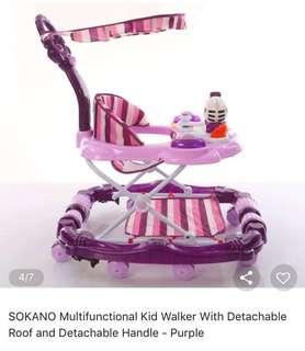 Multifunctional Kid Walker with detachable roog abd handle - Purple