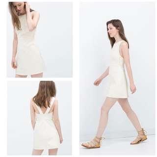 ZARA Cream Lace Up Flare Dress
