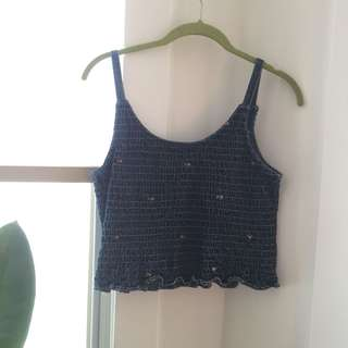 90s denim ruffle rose tank