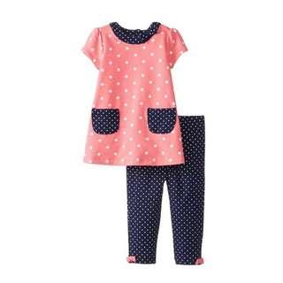 Little Me Baby clothes bb girl 粉紅色 珊瑚紅 波點 連身裙 褲仔 小女孩 一套2件如圖 包平郵 100% 全新正貨 嬰幼兒連身裙