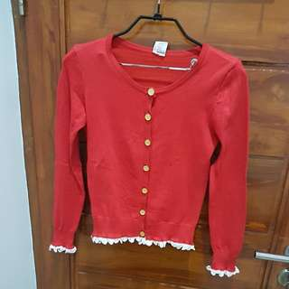 Red knit cardigan