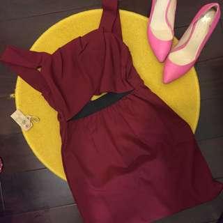 全新紅色鏤空無袖洋裝 婚禮約會度假必備