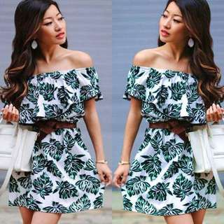Stretchable Fabric Dress with Belt