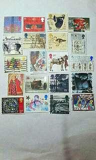 大👍靚🎀英國郵票 20個 - 已蓋銷