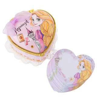 日本 迪士尼 長髮公主 Rapunzel 心型 鏡盒 首飾盒 + MEMO紙 Disney Notepad Memo Princess Mirror Jewelry Box