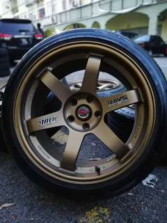 Te37 thailand 18 inch sports rim mitsubishi evolution 9 tyre 70%. I have a pen i have pineaple paaappppp te37 thailand!!!