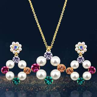 Multicolor Crystal Pearl Jewelry Set #k1