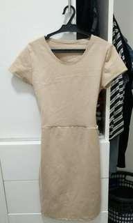 Beige Open Back Dress