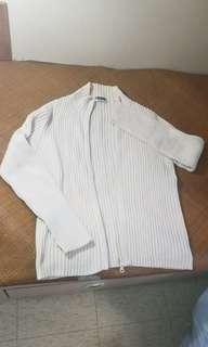 白色直條外套M碼 新淨