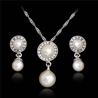 Round Pearl Silver Jewelry Set
