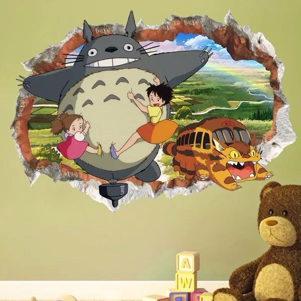3D Hayao Miyazaki Ghibli Totoro Wall decal sticker, Home & Furniture ...