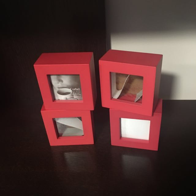 4 X Red Photo Block Frames