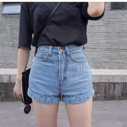a7c7369b62 AMERICAN APPAREL INSPIRED DENIM SHORTS HIGH WAISTED, Women's Fashion,  Clothes, Pants, Jeans & Shorts on Carousell