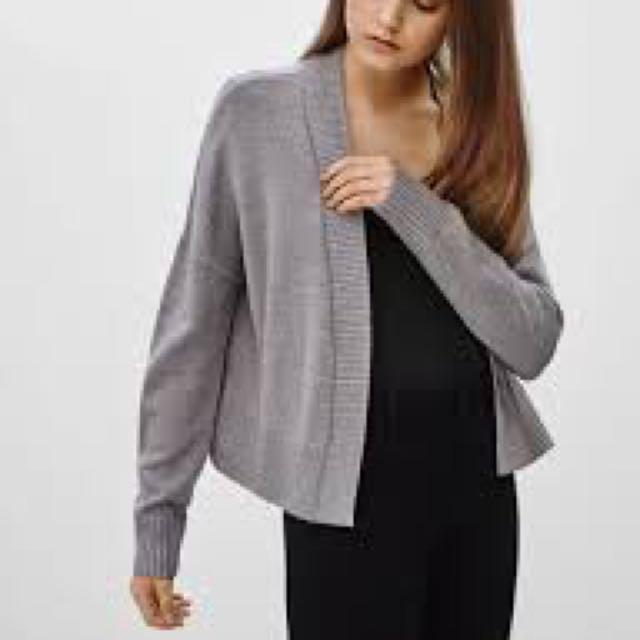 Aritzia Light Grey Wool Cardigan Talula