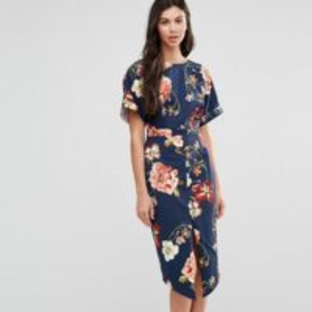 316966f04d4d6 ASOS Wiggle Dress in Navy Large Scale Floral Print, Women's Fashion, Clothes,  Dresses & Skirts on Carousell