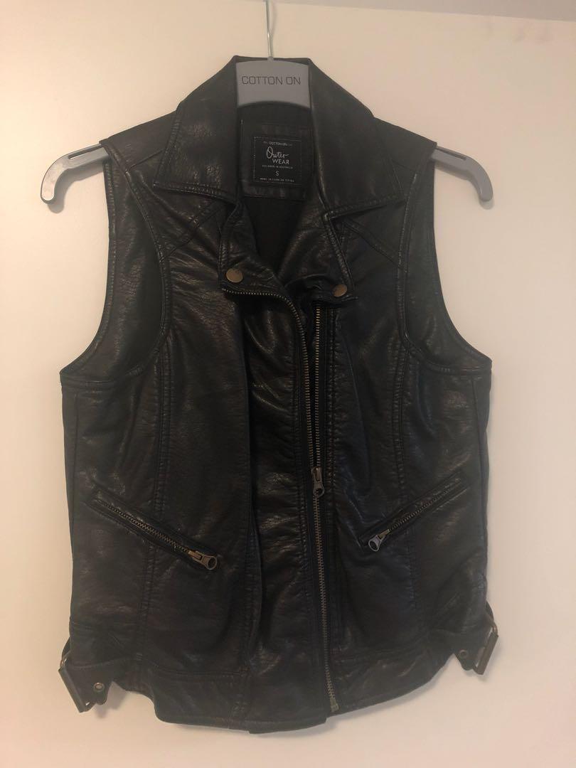 Black Leather Like Biker Vest NEW Small 8