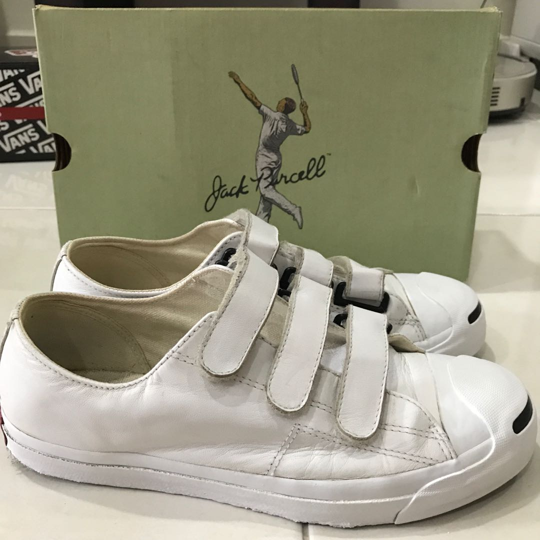797778c54ee ... hot converse jack purcell leather velcro white mens fashion footwear on  carousell 4d449 312d1