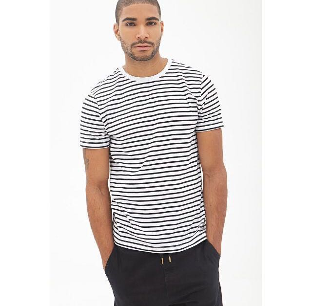Forever 21 Men S White Black Striped T Shirt Men S Fashion