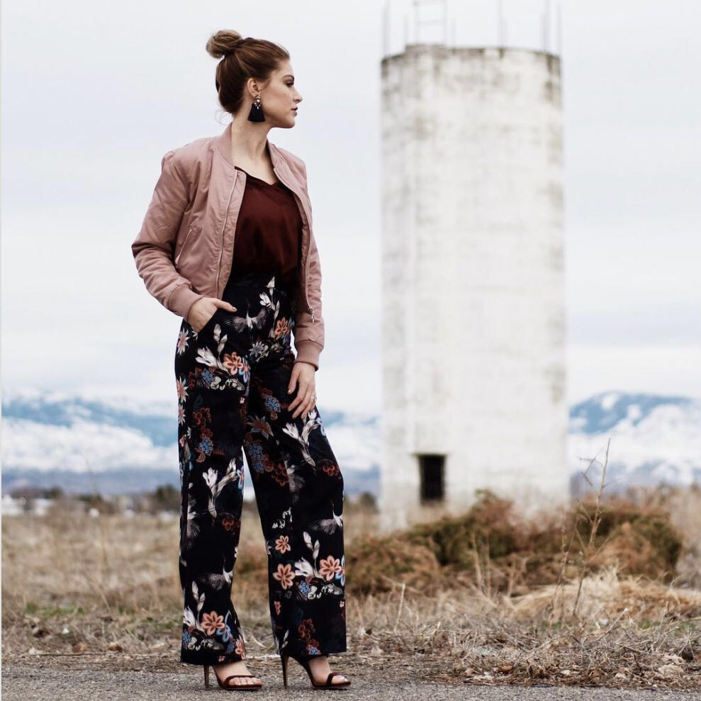 H&M Floral satin pants