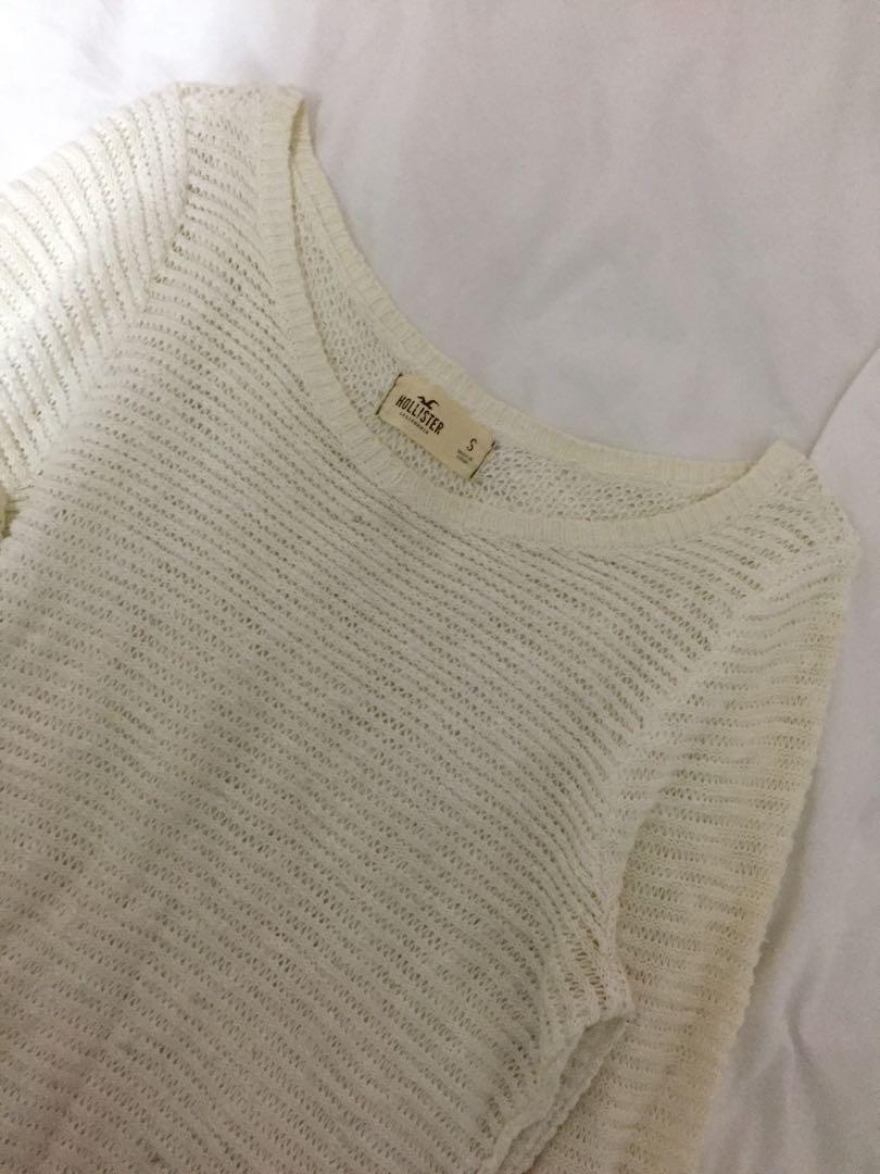 Hollister white sweater