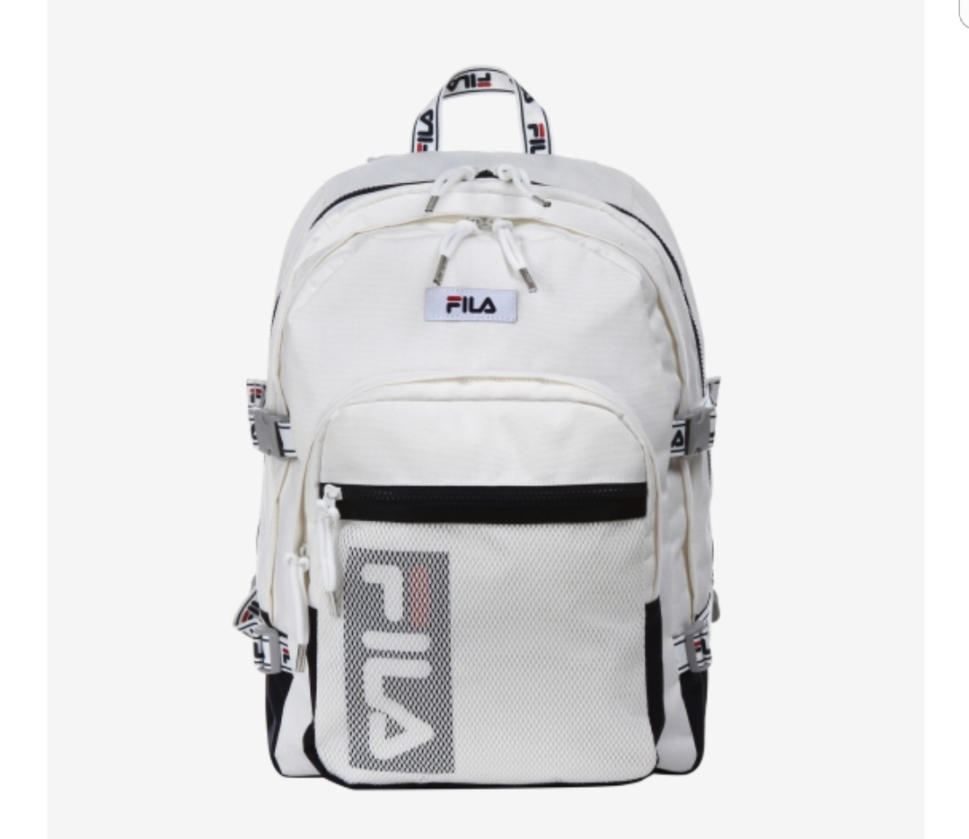 Korea Fila Vertical Linear Backpack White NWT FS3BPA5302X OWH ... ccc6470eb8ad9