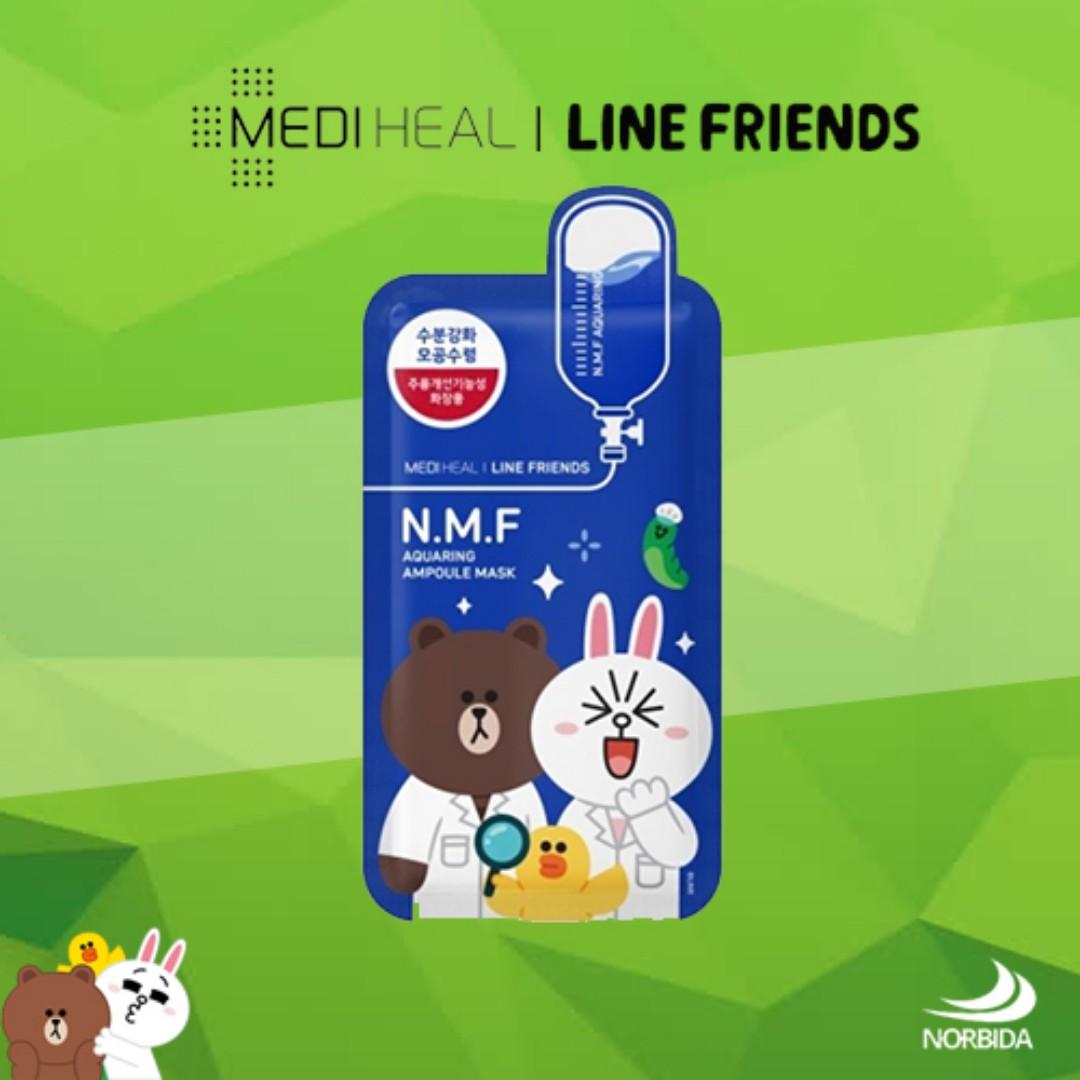 Mediheal Line Friends N.M.F Aquaring Ampoule Mask Pack 27ml X 10pcs, Health & Beauty, Skin, Bath, & Body on Carousell