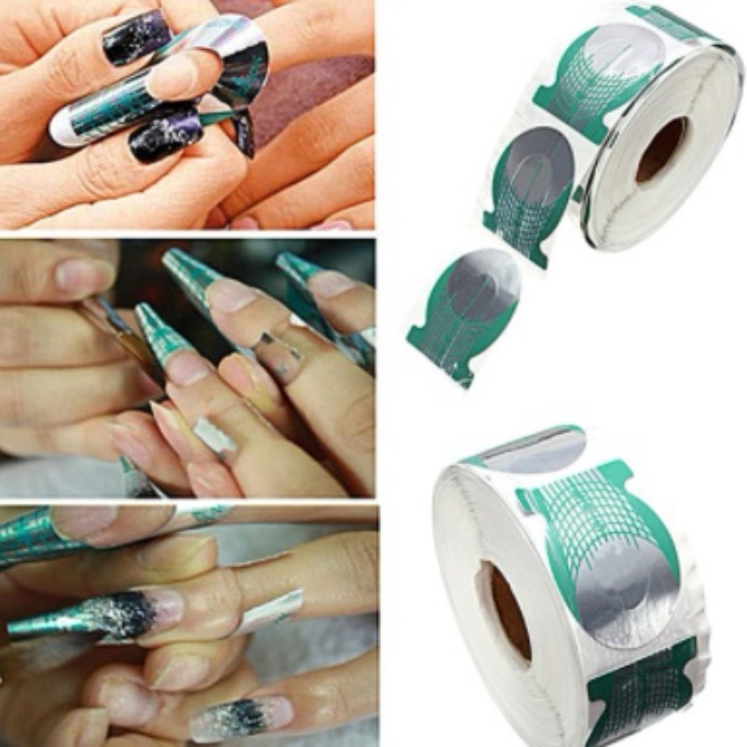 Nail Art 500pcsroll Nails Extension Form Green Horseshoe Shape Nail