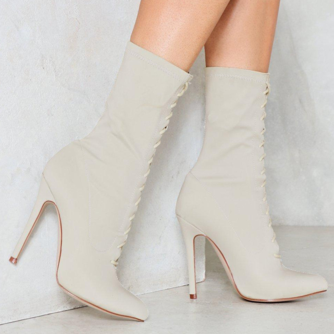 NastyGal Lace Up Sock Boots