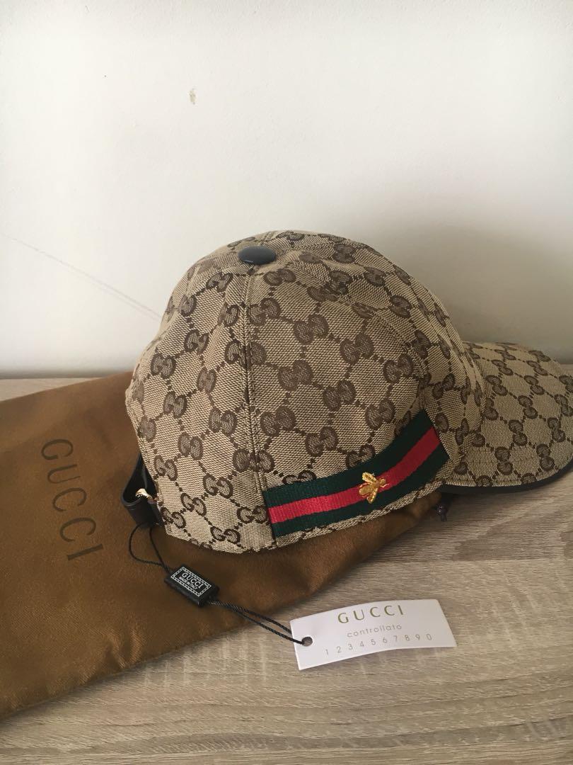 Original Gucci canvas cap with dust bag