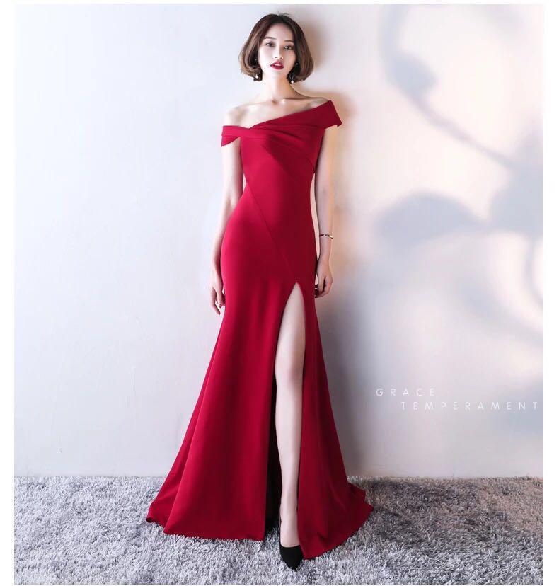 Red Dinner Dress Dinner Gown Off Shoulder Long Dress 8a8a130386