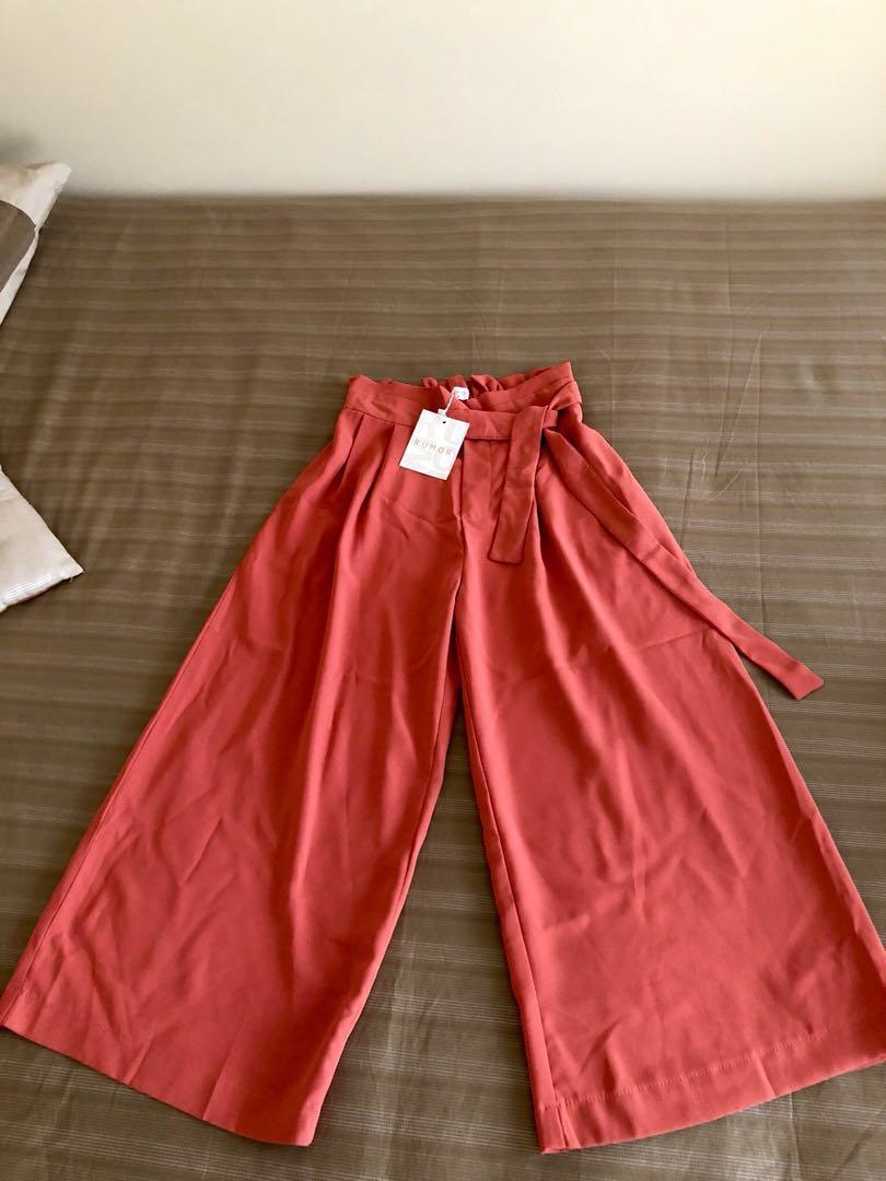 RUMOR| Wide-leg Tie Waist Pants / Culottes