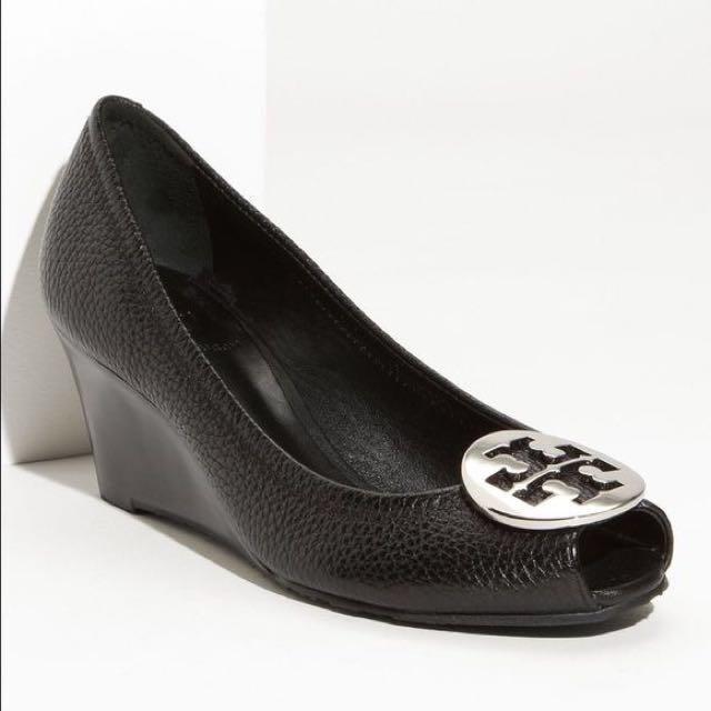 544904e5dcca Tory Burch Black Leather Sally 2 Peep Toe Wedge