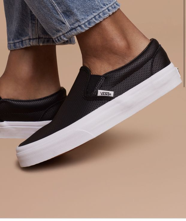 Vans Perf Leather Slip-On in Black
