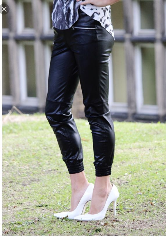Zara Faux Leather Joggers