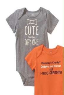 Cute Since Day One Bodysuit (3-6 mos) - Gray