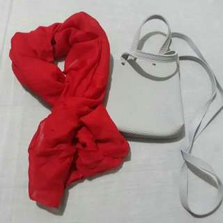 Sling Bag With Plain Color Shawl 200.00
