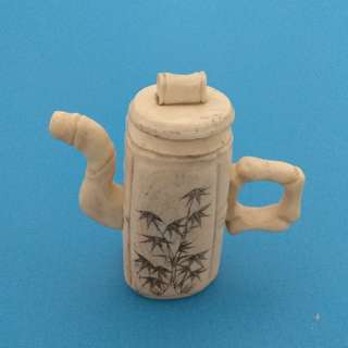 Vintage Chinese Collectibles Decorated Handmade Cow Bone Carving Miniature Bamboo Tea Pot