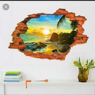 Wall sticker 3D kode MJ8024D wall sticker dinding sunrise