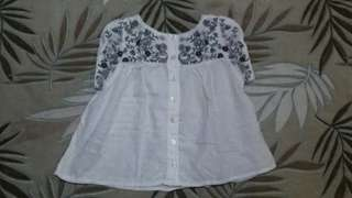 Pre-loved white floral blouse