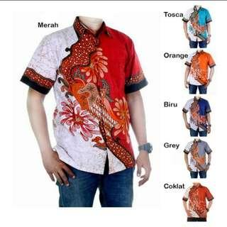 Baju batik pria kemeja hem modern riyan